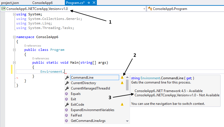 Visual Studio Intellisense indicates whether a class or member is available in .NET Core