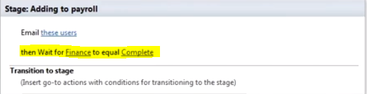 Image of a SharePoint Designer with a stage that waits for a field change